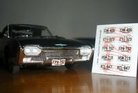 1960 - 1964 NEW JERSEY miniature LICENSE PLATES for 1/25 scale MODEL CARS