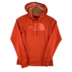 The North Face Womens Coral Orange Logo Spell Out Hoodie Sweatshirt Size Small
