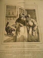 Caricature 1878 - Muselière abolie pour les chiens mais pas pour les chats