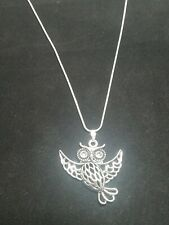 Owl Necklace Pendant on Sterling Silver Chain