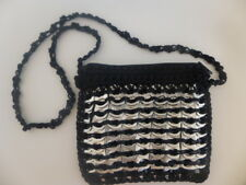 Handmade Black/ Silver Soda Can Pop  Metal Tab Purse