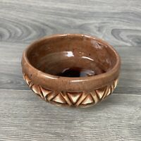 Vintage Brown Tan Triangle Pottery Hand Thrown Ceramic Bowl Rustic Glazed Signed