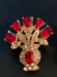 Vintage Style Elegant Gold-tone   Pin Red  and Clear Rhinestone
