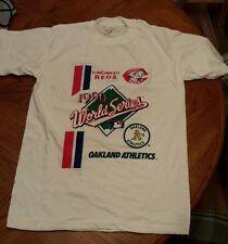 Vintage 1990 World Series Cincinnati Reds Oakland Athletics T Shirt L MLB