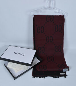 Genuine GG Gucci Scarf Cotton Black and Claret Red