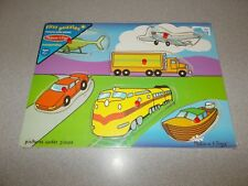 Wooden Melissa & Doug First Puzzles 6 piece transportation puzzle new ages 1 1/2