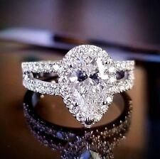 1.60ctw Natural Pear Halo Pave Split Shank Diamond Engagement Ring - GIA Certifi