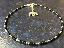 """Elephant Charm Anklet 11.5"""" Unwanted Gift Dainty Black Glass & Sp Beads"""