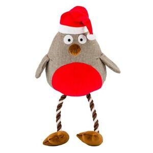 Giant Goodboy Christmas  Plush Crinkle Robin 70 cm  Festive Dog Toy Rope  10113