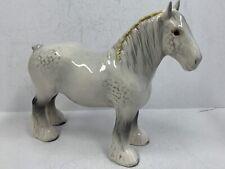 Vintage Beswick Porcelain Shire Mare Horse Figurine; White/Grey