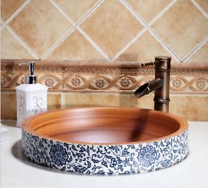 Vintage Pattern Kasbah Ceramic Basin Sink Bathroom Counter Top Under Mount Wash