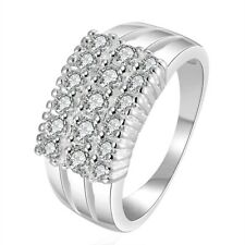 Fashion Silver Ring Zircon Geometric Creative Weding Jewelry Women New Gift Lady