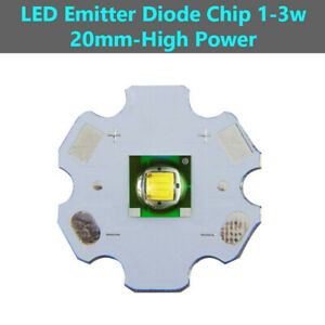 EMITTER High Power LED DIODE CHIP Cold WHITE Lights BEAD 20mm 3W For Flashlights