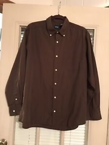 Basic Editions Men's Long Sleave Shirt Brown Large