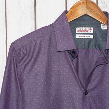 TED BAKER Endurance Men's Button Front Dress Shirt Purple Pinstripe Size 16