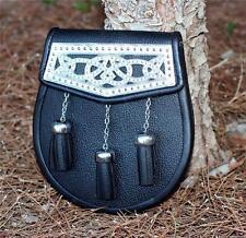 SCOTTISH Celtic HIGHLANDER Black Cowhide Leather SPORRAN Kilt BAG with BELT New
