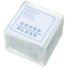100 Pack of 22x22mm Cover Glass Slips for Microscope Slides (.13 to .17mm Thick)