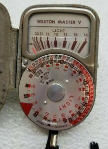 Vintage Weston Master V Light Meter Model 748 Leather w/ Case