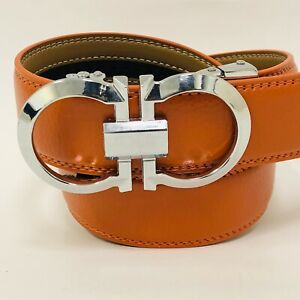Fashion Leather Silver Slide Orange Men's Belt Automatic Buckle Jeans Dress