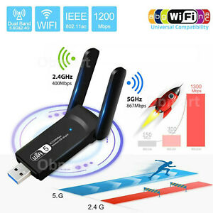 Wireless Lan USB 3.0 WiFi Adapter 1200Mbps Dual Band Network 802.11AC 2.4G/5G PC