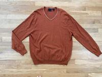 Jos A Bank Joseph Sweater Cotton Cashmere Blend Size Large Rust Burnt Orange