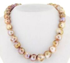 12-13mm Natural Japanese Kasumi Pink Pearl Necklace 18inch 14k