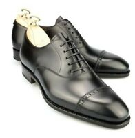 New Men's Black Handmade Formal Leather Oxford Wingtip Shoes-Goodyear Welted