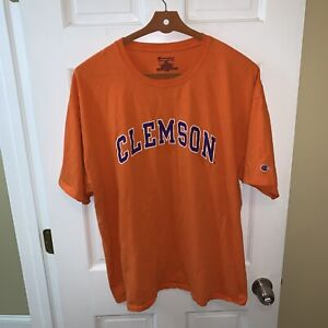 Champion Clemson Tigers Men Extra Large XL Tee T Shirt Orange Short Sleeve Logo