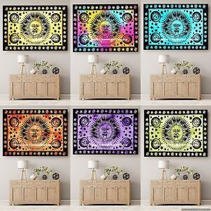 Psychedelic Sun Moon Hippie Tapestry Indian Wall Hanging Ethnic Dorm Beach Throw