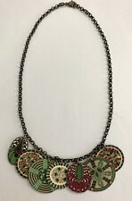 Hanging Medallions Green Red Floral Designs Bib Chain Boho Necklace Two Sided