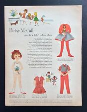 Vintage Betsy McCall Mag. Paper Dolls, Betsy & Doll's Fashion Show, Aug. 1959