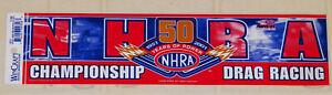 "VINTAGE UNUSED ""NHRA 50 YEARS OF POWER 1951-2001"" BUMPER STICKER--3""X12 3/4"""