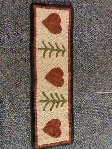 Primitive Wool Hooked Rug with Hearts