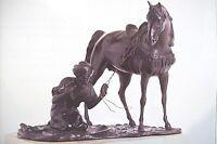 """Giuseppe Ferrari """"ARABO IN PREGHIERA"""" fine '800 ,antico bronzo base marmo sculpt"""