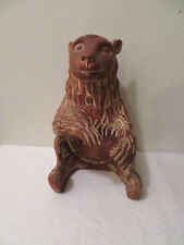 "Vintage or Antique Hand Carved Wood Sitting Bear Statue 13"" Rare LOOK"