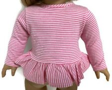 "Pink & White Striped Long Sleeved Top Shirt for 18"" American Girl Doll Clothes"