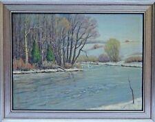 "Frank Seymour (US, NY, 20th c.) Impressionist Oil Painting ""Owasco River"" c.1940"