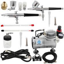 OPHIR 220V 2 Airbrush Spray Paint Gun & Mini Air Compressor for Hobby Cake Model