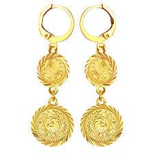 "Arab Fashion ""2 Coin"" Dangle Drop Earrings Gold Plated Lady Muslim"