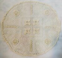 Vtg Handmade Mondano Net Doily Needle Lace Round Cream Intricate Design 13 In