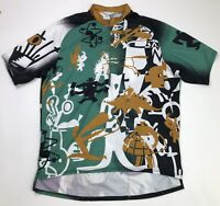 Pearl Izumi Mens Abstract Cycling Jersey Size Large Green Black Gold Made In USA