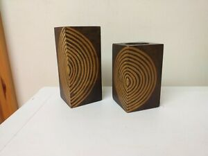 NICE SET..CANDLE HOLDERS...SOLID WOOD...CIRCLE DESIGN...DISPLAY...RUSTIC STYLING
