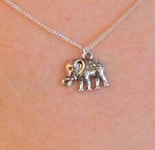 Collar de Cadena de Plata Plateado Elefante animal sagrado conservación budista hindú