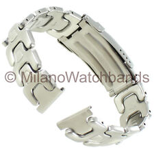 20mm Milano Mens Rounded Link Stainless Steel Safety Deployment Watch Band