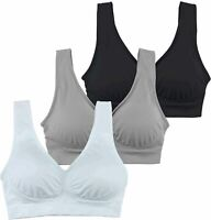 Cabales Women's 3-Pack Seamless Wireless Sports Bra with, Black, Size X-Large VY