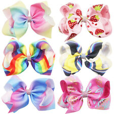 "6Pcs 8"" Large Bows Grosgrain Ribbon Hair Bows Alligator Clips for Girls Toddlers"