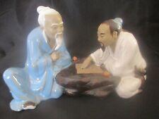 VINTAGE CHINESE MUD MEN PLAYING CHESS