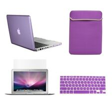 """4 in1 Rubberized PURPLE Case for Macbook PRO 15"""" Retina + Key Cover + LCD + Bag"""