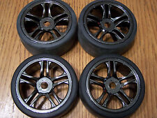 Set of 4 Traxxas XO-1 Super Car Front Rear Tires & Wheels 17mm Splined Hex Rim