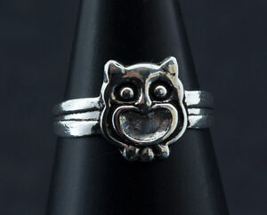 Ring Foot Toe Adjustable-Owl- Jewel Solid Silver 925 W95 6595
